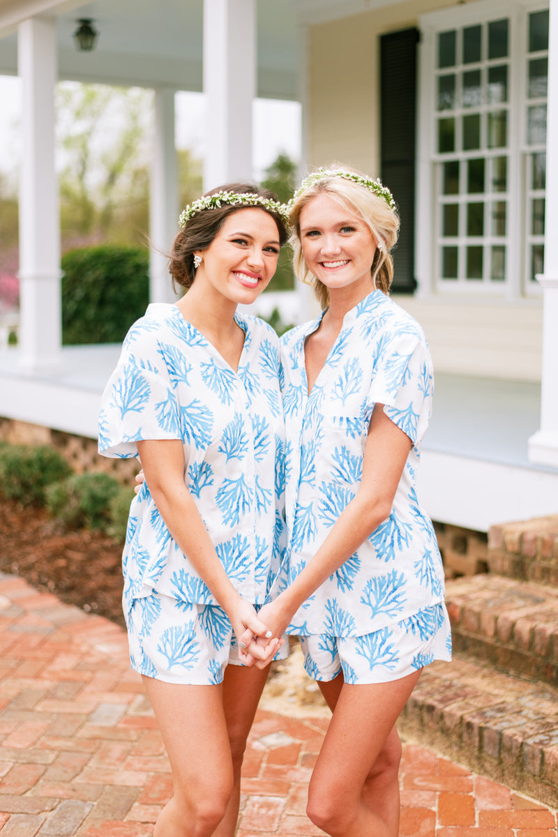 Poppy & Co. - Blue Coral Pajama Set - Bridesmaids Gifts - Loungewear - Wedding Day Loungewear - Bridal Party Loungewear