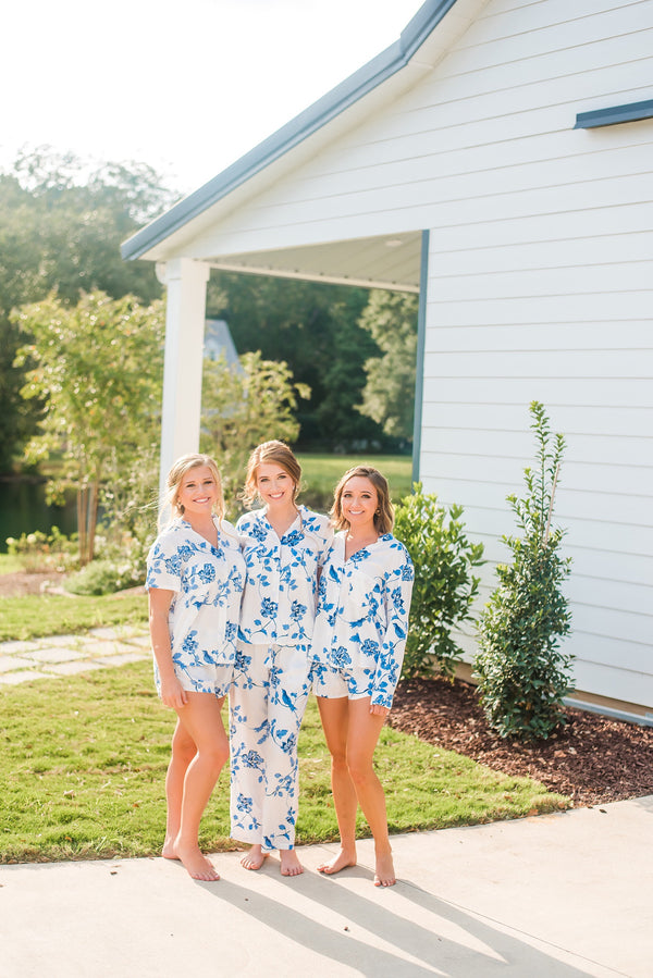 Botanical Blue Pajama Set - Long Sleeves