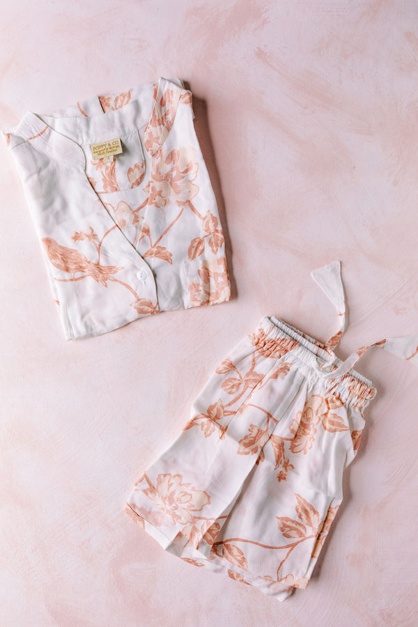 Poppy & Co. - Botanical Blush Pajama Set - Bridesmaids Gifts - Loungewear - Wedding Day Loungewear - Bridal Party Loungewear