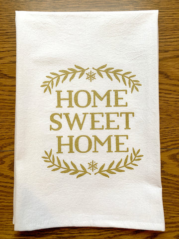 Tea Towel – Home Sweet Home – Metallic Gold