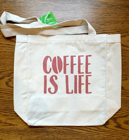 Canvas Daily Tote – Coffee is Life – Rose Gold