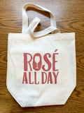 Four Bottle Wine Tote – Rosé all day – Metallic Rose Gold