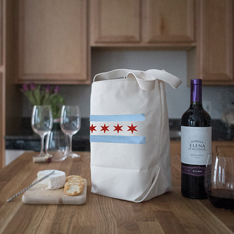 Four Bottle Wine Tote – Chicago Flag