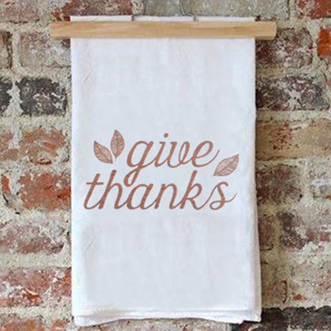 Tea Towel – Give Thanks – Metallic Copper