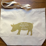 Canvas Market Tote – This Little Piggy Went to Market – Metallic Gold
