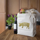 Canvas Market Tote – This Little Piggy Went to Market – Metallic Rose Gold