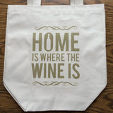 Four Bottle Wine Tote – Home is Where the Wine is – Metallic Gold