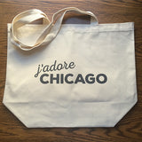 Canvas Market Tote – j'adore Chicago – Black Pearl