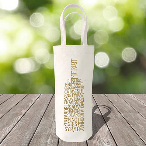Single Bottle Wine Tote – Wine Words – Metallic Gold
