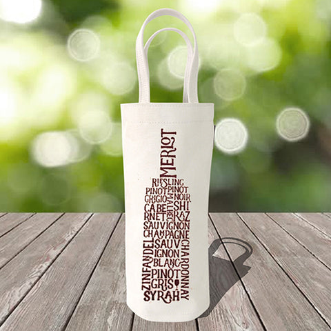 Single Bottle Wine Tote – Wine Words – Maroon