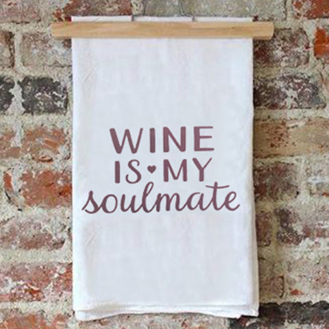 Tea Towel – Wine is my Soulmate – Maroon