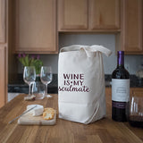 Four Bottle Wine Tote – Wine is my Soulmate – Maroon