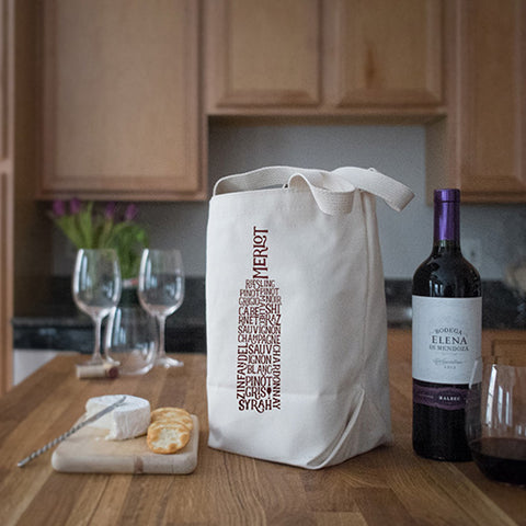 Four Bottle Wine Tote – Wine Words – Maroon