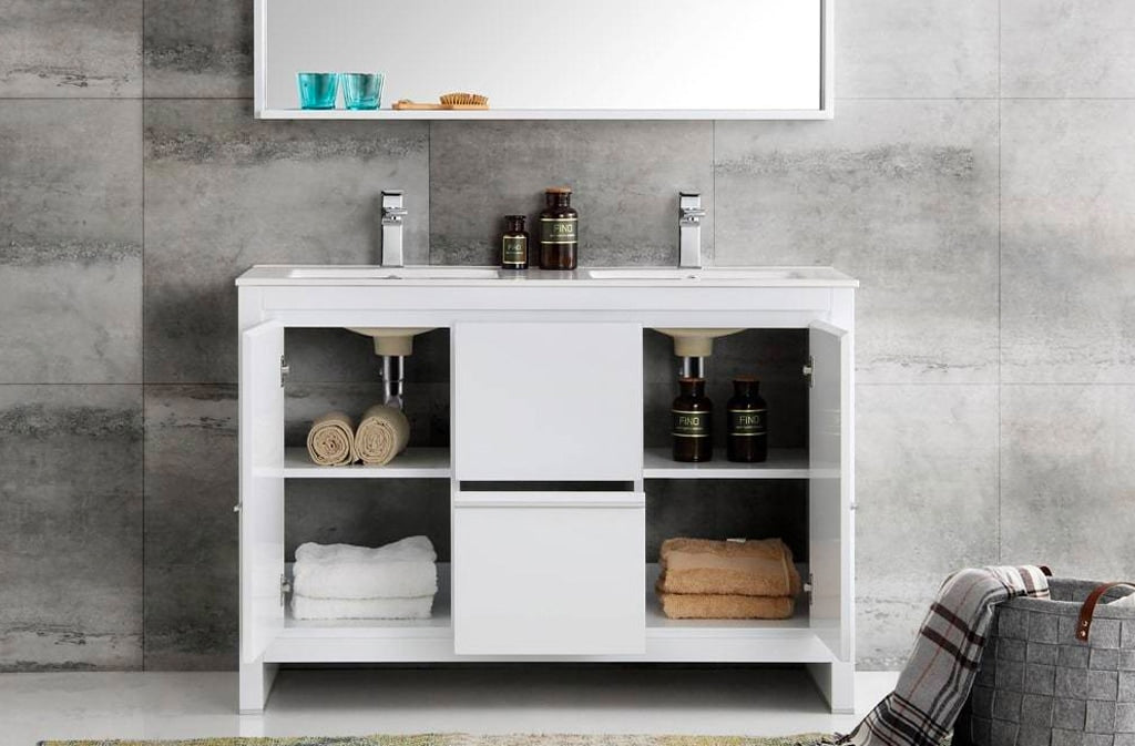 """FRESCA FVN8148WH-D ALLIER 48"""" WHITE MODERN DOUBLE SINK BATHROOM VANITY WITH MIRROR"""