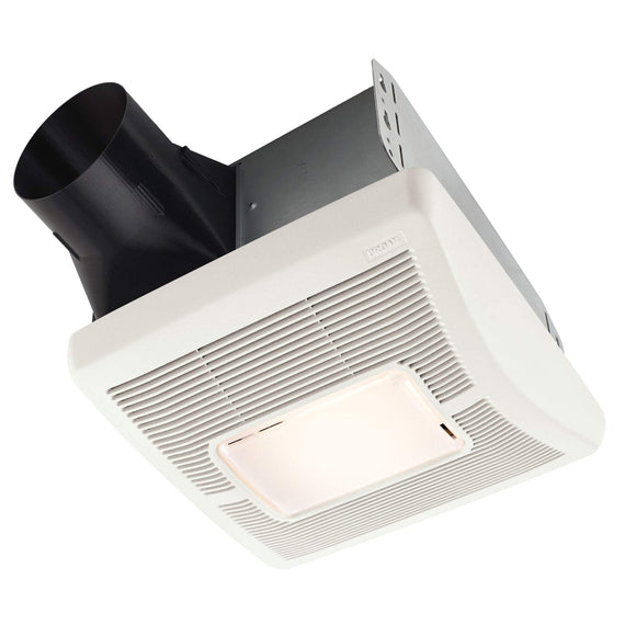 Broan A50L Nutone Flex Series 50 CFM Single Speed Ceiling Room Side Installation Bathroom Exhaust Fan with Light