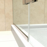 "DreamLine DL-6523L-04CL Aqua Ultra 36""D x 60""W x 74 3/4""H Frameless Shower Door in Brushed Nickel and Left Drain White Base Kit"