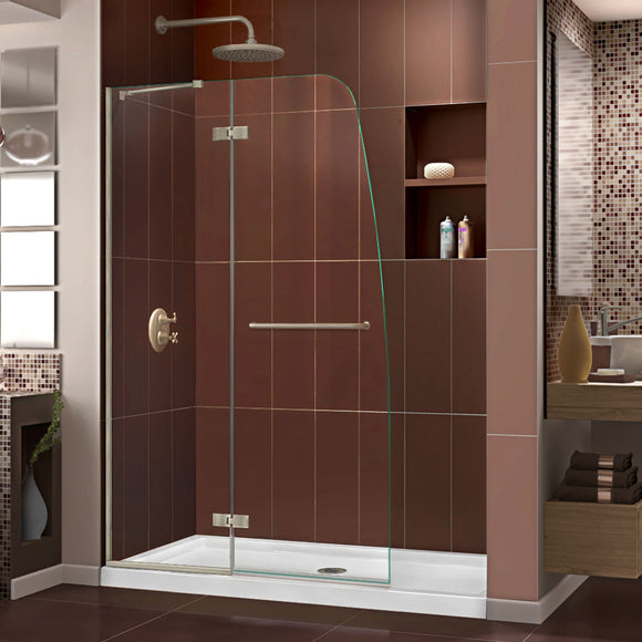 "DreamLine DL-6520C-04CL Aqua Ultra 30""D x 60""W x 74 3/4""H Frameless Shower Door in Brushed Nickel and Center Drain White Base Kit"