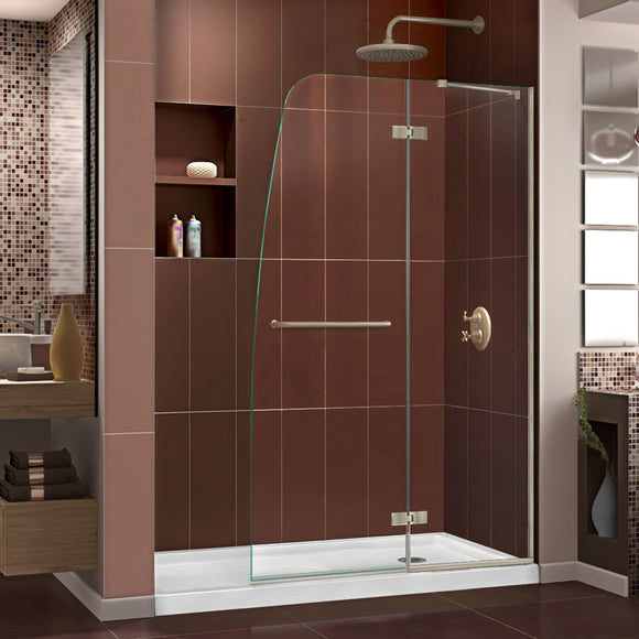 "DreamLine DL-6522R-04CL Aqua Ultra 34""D x 60""W x 74 3/4""H Frameless Shower Door in Brushed Nickel and Right Drain White Base Kit"