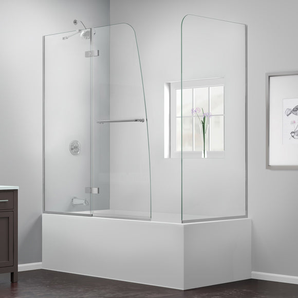 "DreamLine SHDR-3448580-RT-04 Aqua Ultra 57-60""W x 30""D x 58""H Frameless Hinged Tub Door with Return Panel in Brushed Nickel"