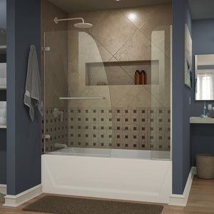 "DreamLine SHDR-3534586-EX-04 Aqua Uno 56-60""W x 58""H Frameless Hinged Tub Door with Extender Panel in Brushed Nickel"