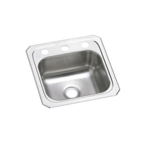 "Elkay BCR151 Celebrity Stainless Steel 15"" x 15"" x 6-1/8"", 1-Bowl Top Mount Bar Sink"