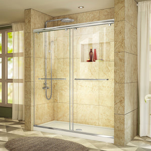"DreamLine DL-6940C-01CL Charisma 30""D x 60""W x 78 3/4""H Frameless Bypass Shower Door in Chrome with Center Drain White Base"