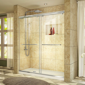 "DreamLine DL-6943L-01CL Charisma 36""D x 60""W x 78 3/4""H Frameless Bypass Shower Door in Chrome with Left Drain White Base"