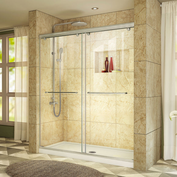"DreamLine DL-6942C-04CL Charisma 34""D x 60""W x 78 3/4""H Frameless Bypass Shower Door in Brushed Nickel with Center Drain White Base"