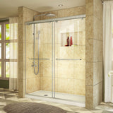 "DreamLine DL-6942L-04CL Charisma 34""D x 60""W x 78 3/4""H Frameless Bypass Shower Door in Brushed Nickel with Left Drain White Base"