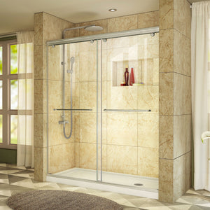 "DreamLine DL-6940R-04CL Charisma 30""D x 60""W x 78 3/4""H Frameless Bypass Shower Door in Brushed Nickel with Right Drain White Base"