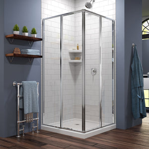 "DreamLine DL-6710-01 Cornerview 36""D x 36""W x 74 3/4""H Framed Sliding Shower Enclosure in Chrome with White Acrylic Base Kit"