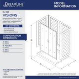 "DreamLine DL-6115C-01CL Visions 36""D x 60""W x 76 3/4""H Sliding Shower Door in Chrome with Center Drain White Base, Backwalls"