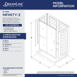 "DreamLine DL-6116L-01FR Infinity-Z 30""D x 60""W x 76 3/4""H Frosted Sliding Shower Door in Chrome, Left Drain Base and Backwalls"