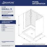 "DreamLine DL-6195C-01 32""D x 32""W x 76 3/4""H Center Drain Acrylic Shower Base and QWALL-5 Backwall Kit In White"