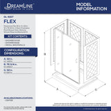 "DreamLine DL-6217C-01CL Flex 32""D x 32""W x 76 3/4""H Semi-Frameless Shower Door in Chrome with White Base and Backwalls"