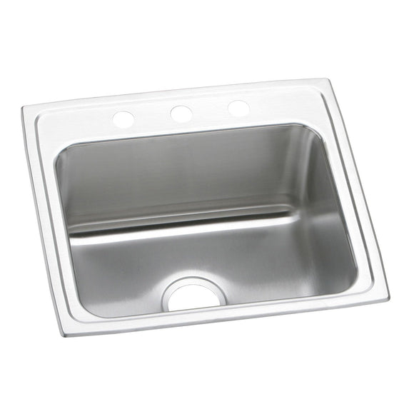 "Elkay DLR2219103 Lustertone Stainless Steel 22"" x 19-1/2"" x 10-1/8"", 1-Bowl Top Mount Kitchen Sink"