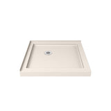 "DreamLine DLT-1036360-22 SlimLine 36""D x 36""W x 2 3/4""H Corner Drain Double Threshold Shower Base in Biscuit"