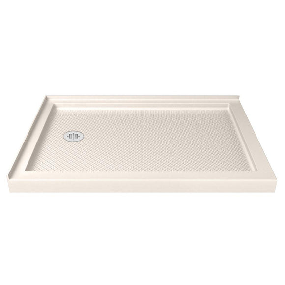 "DreamLine DLT-1034481-22 SlimLine 34""D x 48""W x 2 3/4""H Left Drain Double Threshold Shower Base in Biscuit"