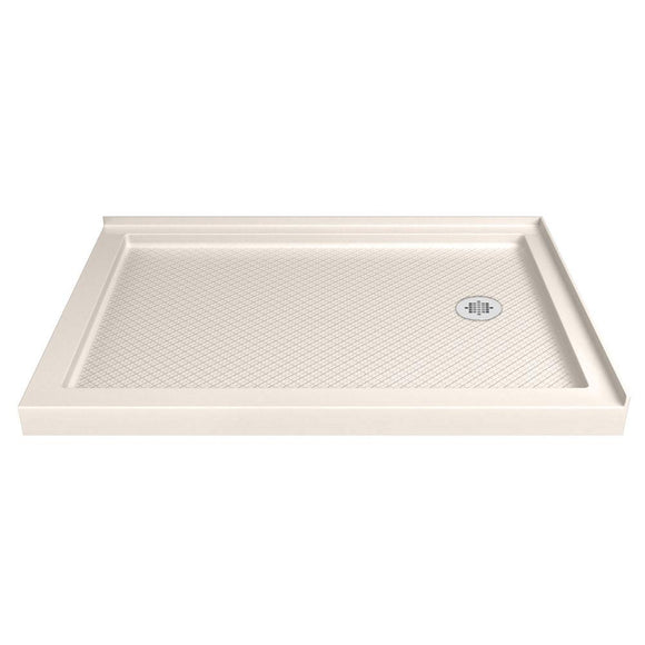 "DreamLine DLT-1034482-22 SlimLine 34""D x 48""W x 2 3/4""H Right Drain Double Threshold Shower Base in Biscuit"