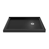 "DreamLine DLT-1034482-88 SlimLine 34""D x 48""W x 2 3/4""H Right Drain Double Threshold Shower Base in Black"