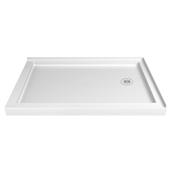"DreamLine DLT-1036482 SlimLine 36""D x 48""W x 2 3/4""H Right Drain Double Threshold Shower Base in White"