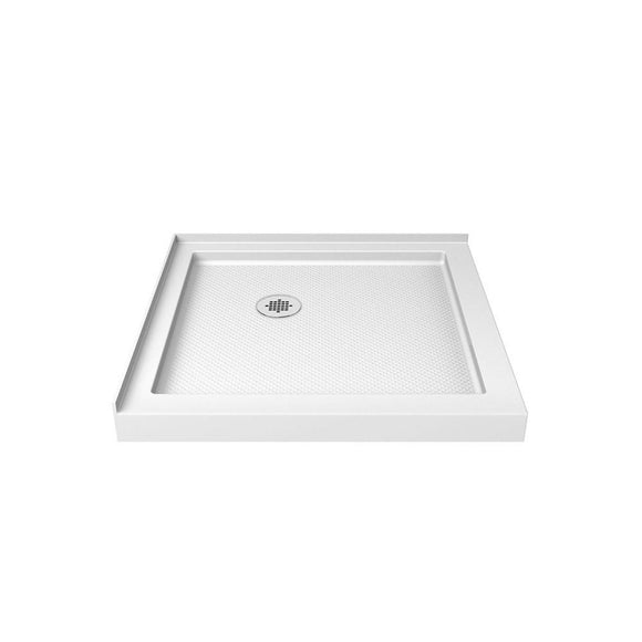 "DreamLine DLT-1032320 SlimLine 32""D x 32""W x 2 3/4""H Corner Drain Double Threshold Shower Base in White - Bath4All"
