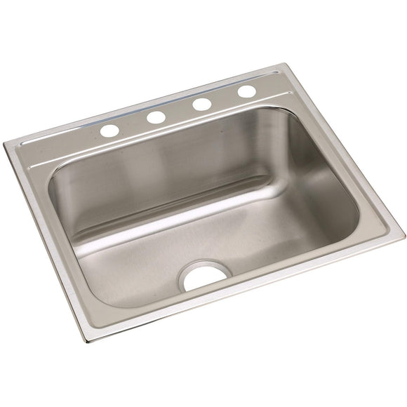 "Elkay DPC12522101 Dayton Stainless Steel 25"" x 22"" x 10-1/4"", Single Bowl Top Mount Kitchen Sink"