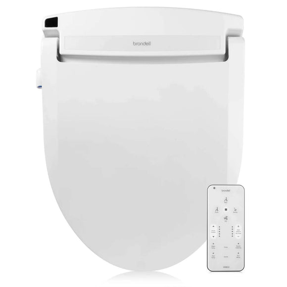 Brondell DR802-EW Swash Select Electric Bidet Seat for Elongated Toilets in White with Warm Air Dryer and Deodorizer