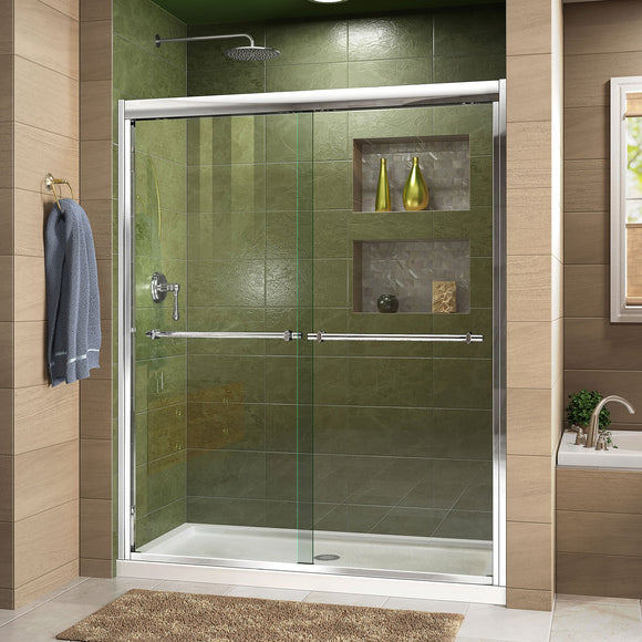 "DreamLine DL-6951C-01CL Duet 32""D x 60""W x 74 3/4""H Semi-Frameless Bypass Shower Door in Chrome and Center Drain White Base"