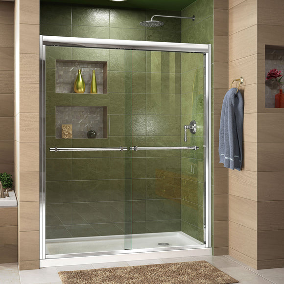 "DreamLine DL-6952R-01CL Duet 34""D x 60""W x 74 3/4""H Semi-Frameless Bypass Shower Door in Chrome and Right Drain White Base"