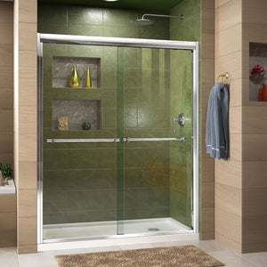 "DreamLine DL-6953R-01CL Duet 36""D x 60""W x 74 3/4""H Semi-Frameless Bypass Shower Door in Chrome and Right Drain White Base"