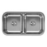 "Elkay EAQDUH3118 Lustertone 32-1/2 x 18-1/8 x 8"" 2-Bowl Undermount Kitchen Sink, Aqua Divide"