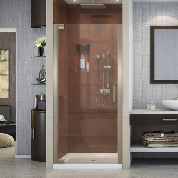 "DreamLine SHDR-4135720-04 Elegance 35 3/4 - 37 3/4""W x 72""H Frameless Pivot Shower Door in Brushed Nickel - Bath4All"