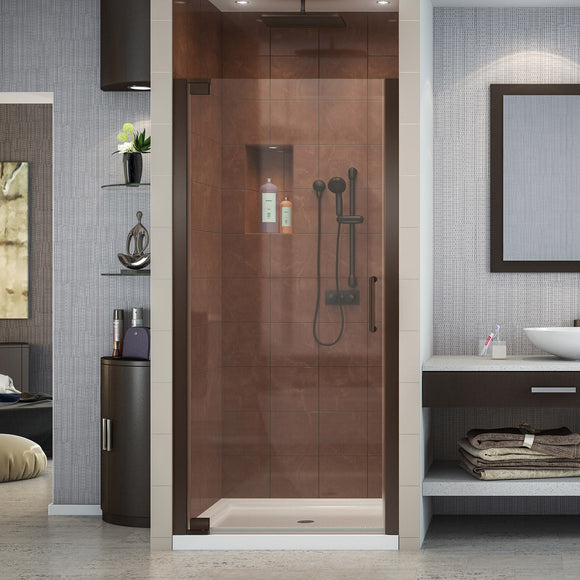 "DreamLine SHDR-4128720-06 Elegance 28 3/4 - 30 3/4""W x 72""H Frameless Pivot Shower Door in Oil Rubbed Bronze"